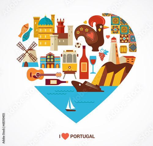 Fotografie, Obraz  Portugal love - heart with vector icons