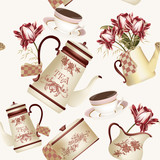 Seamless wallpaper pattern with teapots, cups and flowers