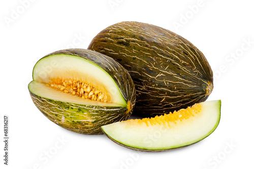 Piel de Sapo Zuckermelone, ganz, angeschnitten und Stück