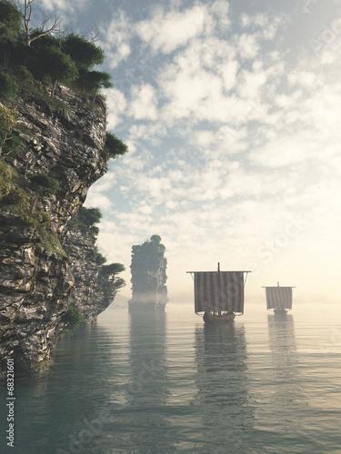 Viking Longships in Unknown Waters Wallpaper Mural