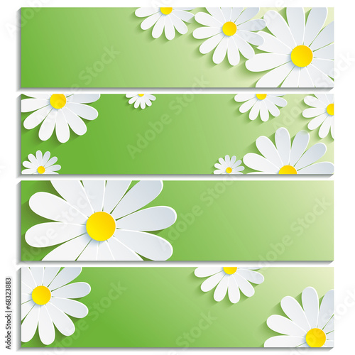 Canvas Prints Ladybugs Set of banners with 3d flower white chamomile