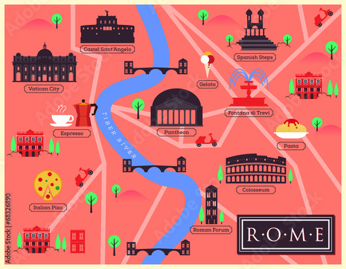 Cuadros en Lienzo City Map Illustration of Rome
