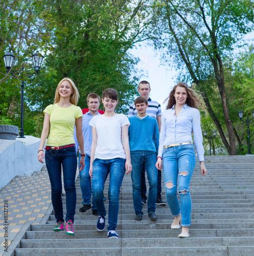 Valokuva  Group of smiling teenagers walking outdoors