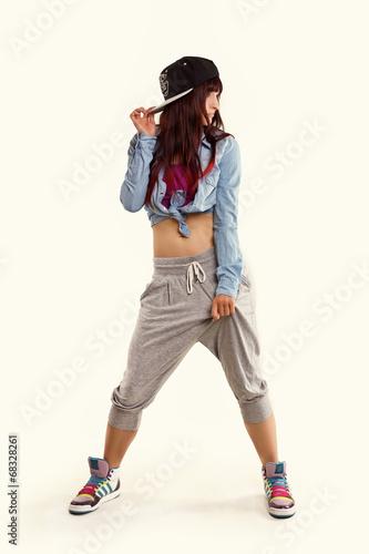 Fotografie, Obraz  Frau tanzt Hip Hop