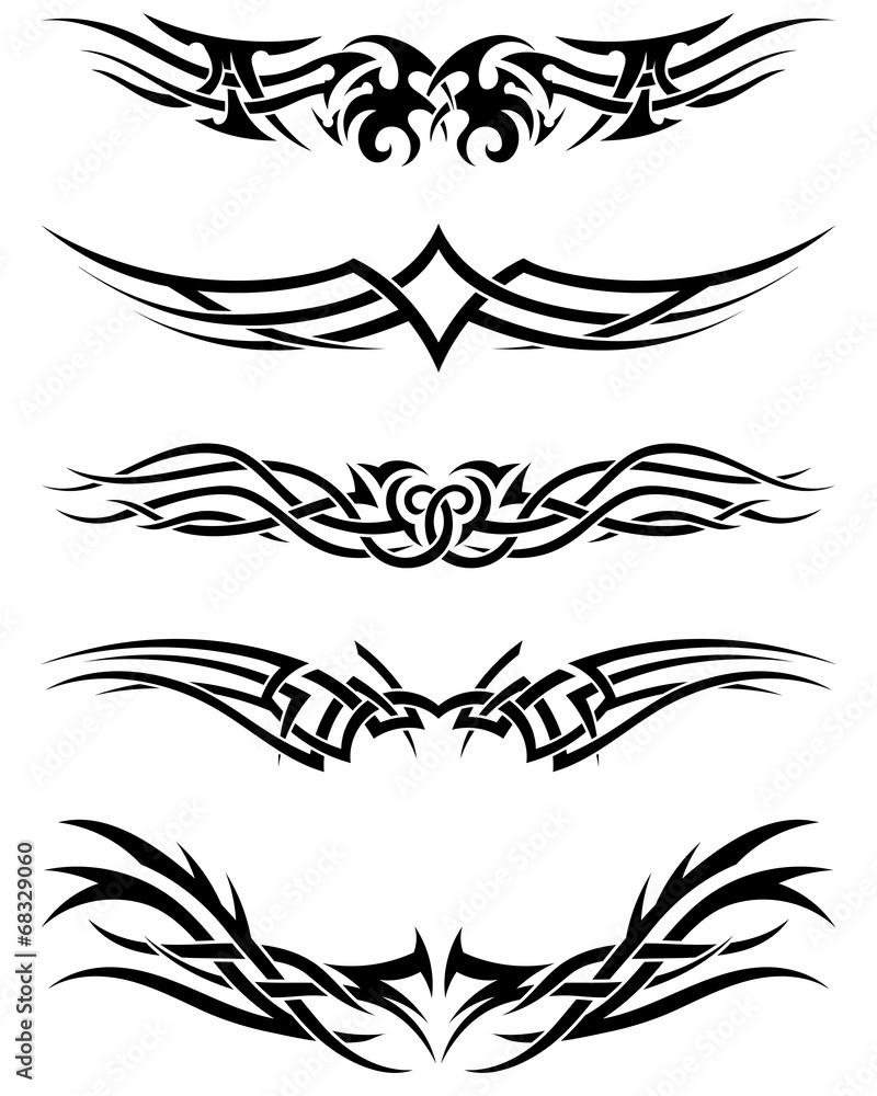 Fototapeta Set tribal tattoos