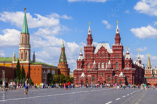 Moscow, Russia. Tourists and citizens walk on Red Square Poster