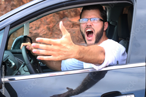 Homme colérique conduisant Canvas Print
