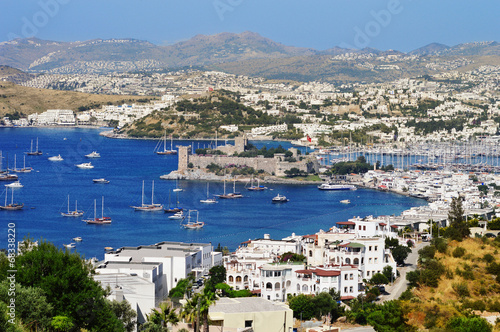 Photo Stands Egypt View of Bodrum harbor during hot summer day. Turkish Riviera