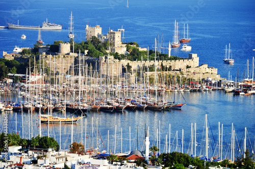 Poster Turquie View of Bodrum harbor during hot summer day. Turkish Riviera