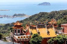 Rooftop Of A Hillside Chinese Temple In Jiufen, Taiwan
