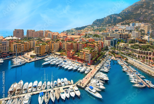 Платно View of  Monaco harbour, Cote d'Azur