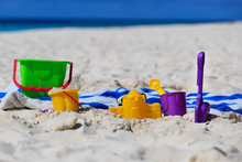 Kids Toys On Tropical Beach