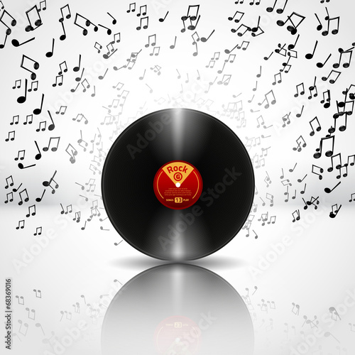 Music Background with Vinyl - Vector