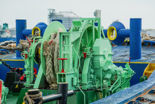 Winch With Rope On Ferry