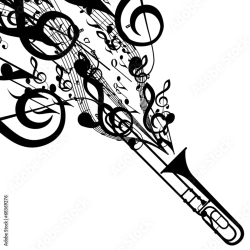 Vector Silhouette Of Trombone With Musical Symbols Buy This Stock