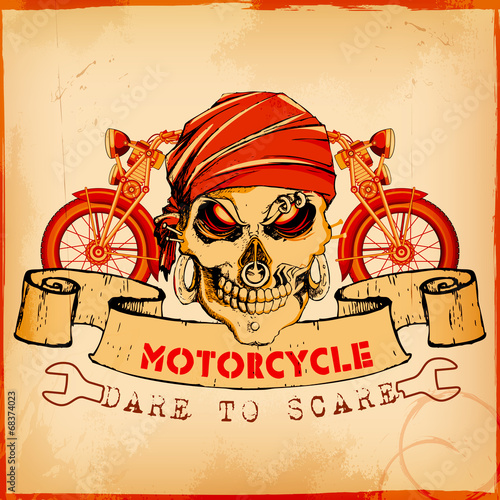 Skull on vintage motorcycle background