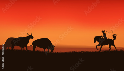 La pose en embrasure Rouge wild west prairie landscape - cowboy chasing the herd of bulls