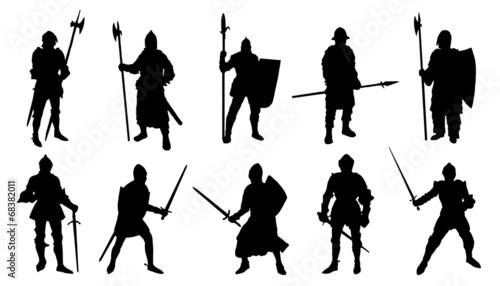 Obraz na plátně knight silhouettes