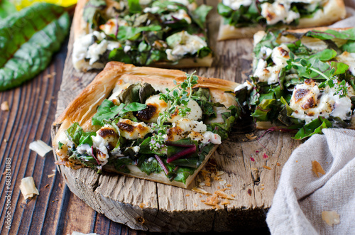 Poster Picnic Tart with spinach, chard and cheese
