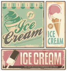 Fototapeta Ice cream vintage metal signs set