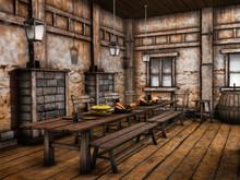 Wnętrze Baśniowej średniowiecznej Tawerny