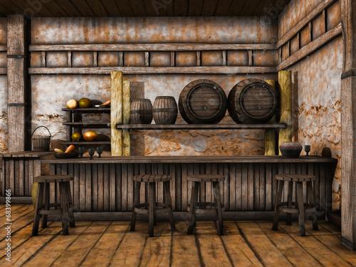 Obraz Drewniana lada i stołki w średniowiecznej tawernie - fototapety do salonu