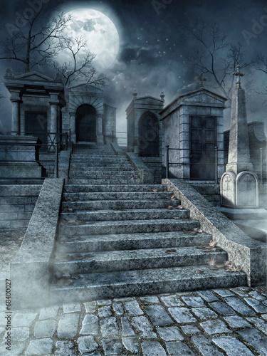 Montage in der Fensternische Friedhof Schody na starym gotyckim cmentarzu