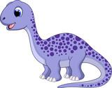 Fototapeta Dinusie - Cute brontosaurus cartoon