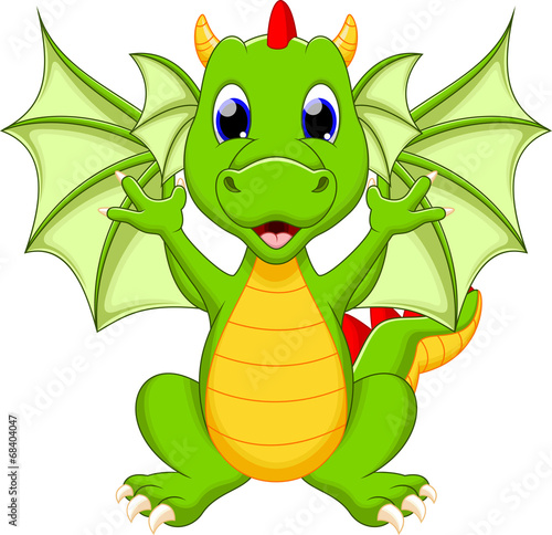 Fotografie, Tablou  Dragon cartoon