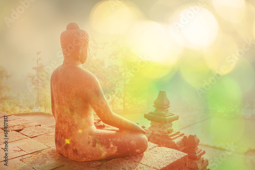 Stickers pour porte Buddha Borobudur