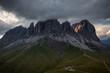Sassolungo mountain rocky peaks at sunset