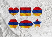 Flag Of Armenia Themes Design Idea On Wall Texture Background