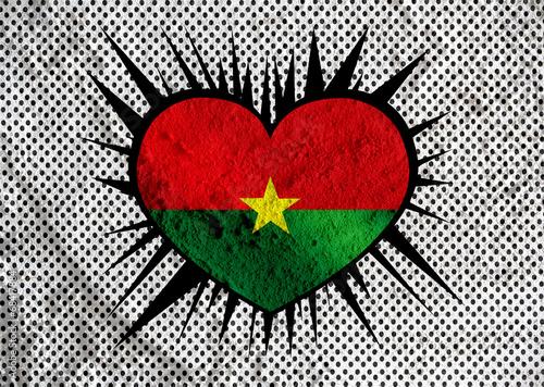 Fototapete - Burkina Faso flag themes idea design on wall texture background