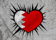 Bahrain Flag Themes Idea Design On Wall Texture Background