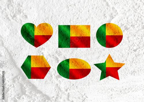Fototapete - Benin flag themes idea design  on wall texture background