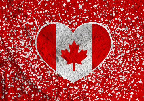 Fototapete - flag of Canada themes idea design on wall texture background