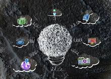 Idea Light Bulb Icon On Wall Texture Background Design