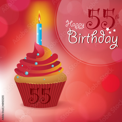 Happy 55th Birthday Message Bokeh Vector Cupcake Candle