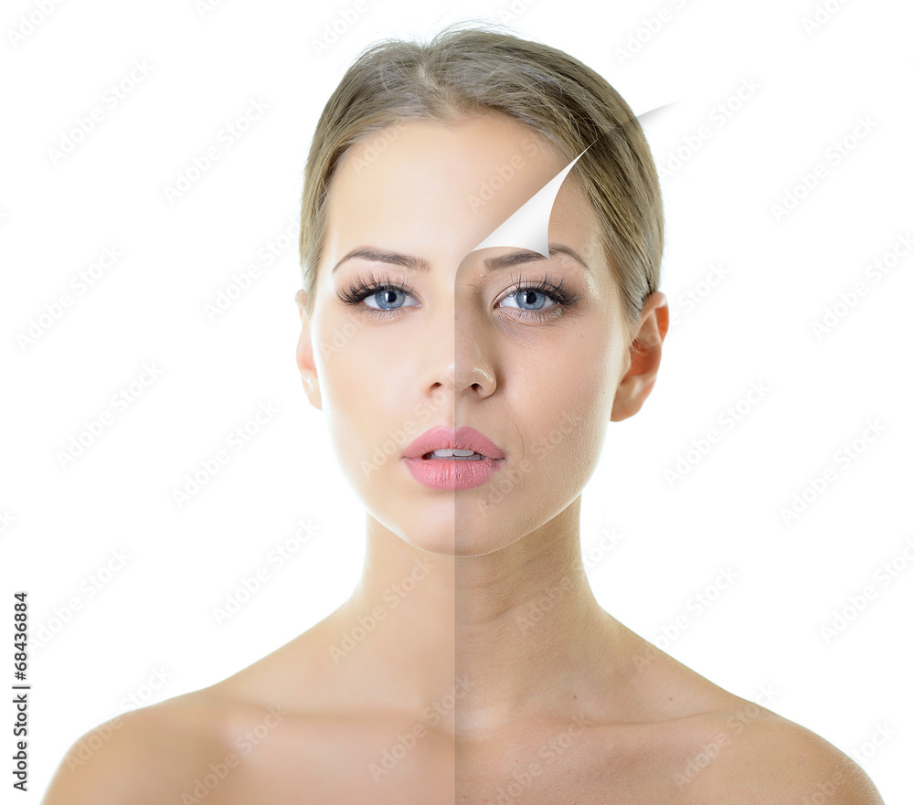Fototapeta portrait of beautiful woman with problem and clean skin, aging a