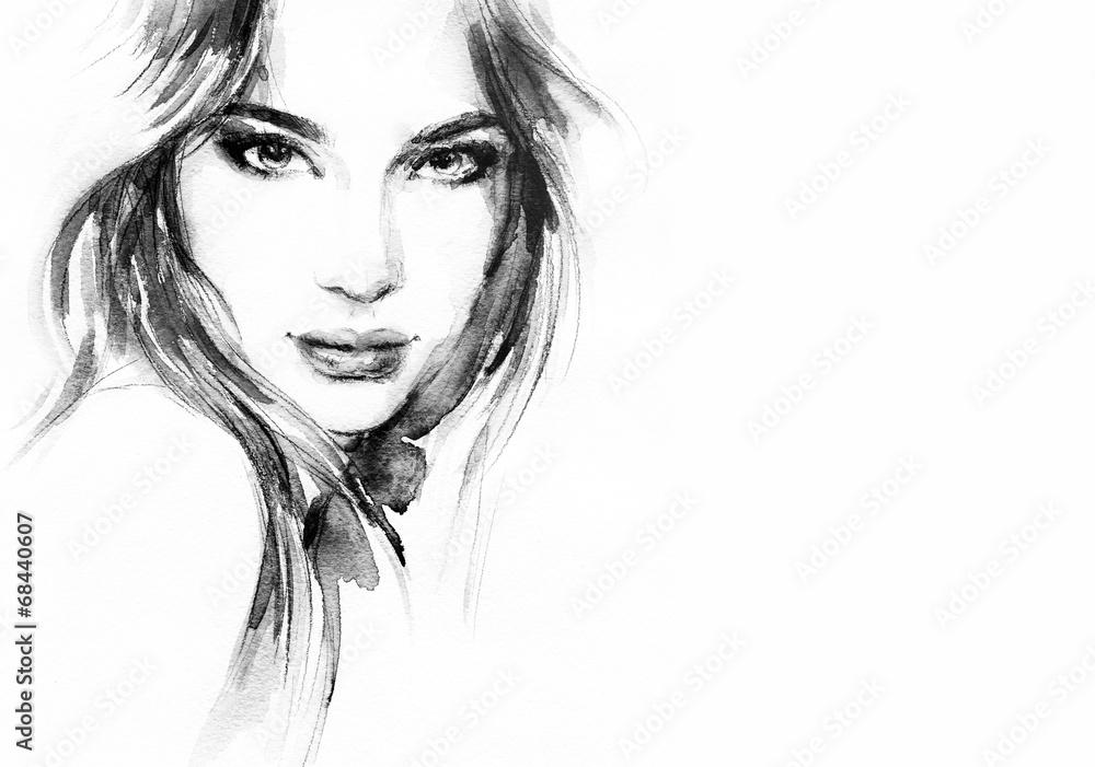 Fototapety, obrazy: Piękna twarz kobiety, akwarela ilustracja