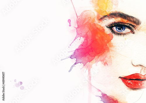 Foto op Aluminium Aquarel Gezicht Beautiful woman face. watercolor illustration