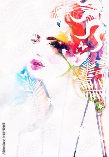 Poster Aquarel Gezicht Beautiful woman face. watercolor illustration