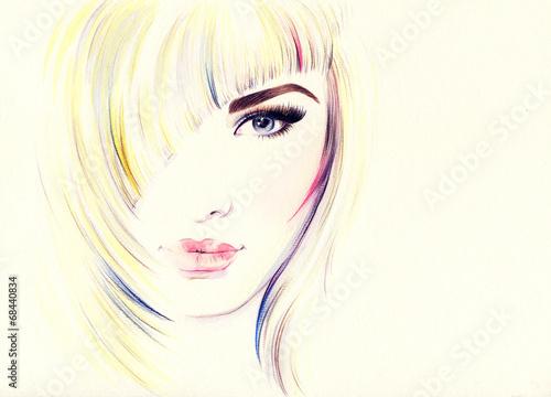 Spoed Foto op Canvas Aquarel Gezicht Beautiful woman face. watercolor illustration