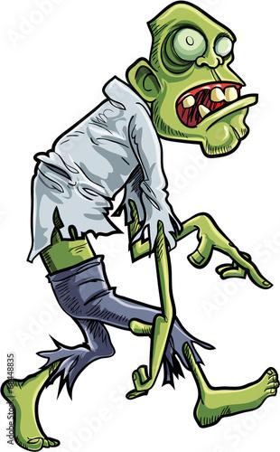 Fotografie, Tablou Cartoon stalking zombie with big eyes