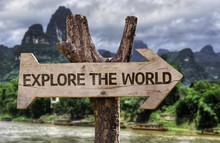 Explore The World Wooden Sign ...