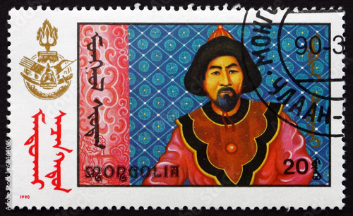 Fototapeta Postage stamp Mongolia 1990 Scene from Mongolian-made Film obraz na płótnie