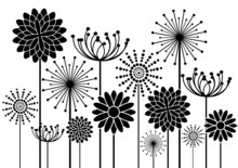 Black Vector Flowers Silhouett...