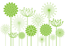Green Vector Flowers Silhouettes Background