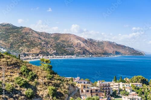 Photo Stands Caribbean Taormina, Sicily, Wonderful view of seaside.