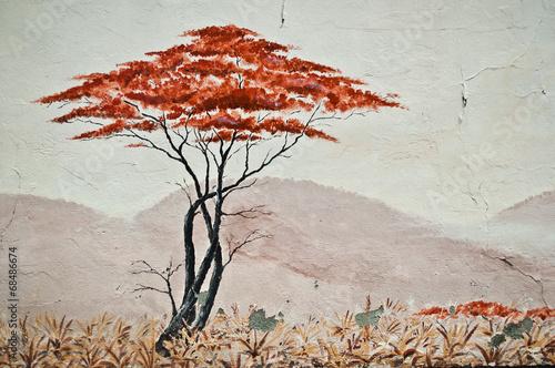 miastowa-sztuka-odosobniony-drzewo-w-sawannie